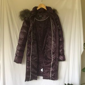 DKNY puffer coat in purple with faux fur hood